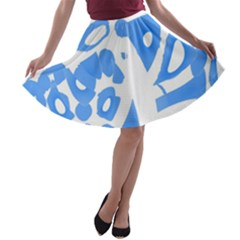 Blue Summer Design A Line Skater Skirt