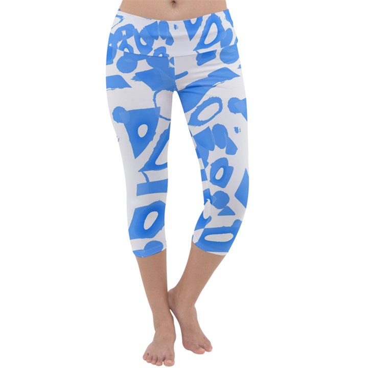Blue summer design Capri Yoga Leggings
