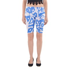 Blue Summer Design Yoga Cropped Leggings
