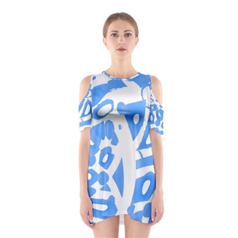 Blue summer design Cutout Shoulder Dress