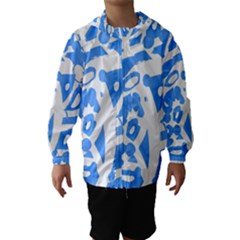 Blue summer design Hooded Wind Breaker (Kids)