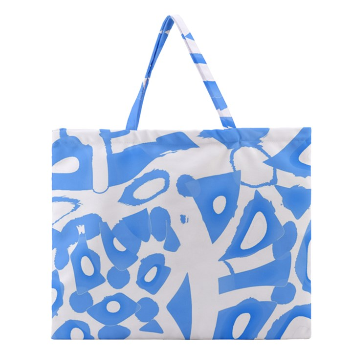 Blue summer design Zipper Large Tote Bag