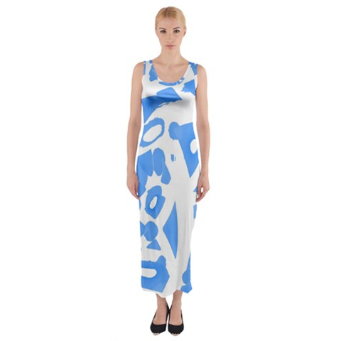 Blue summer design Fitted Maxi Dress