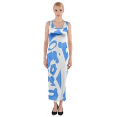 Blue summer design Fitted Maxi Dress