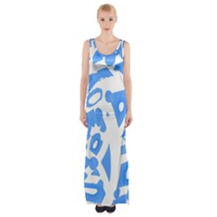 Blue summer design Maxi Thigh Split Dress