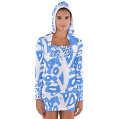 Blue Summer Design Women s Long Sleeve Hooded T Shirt