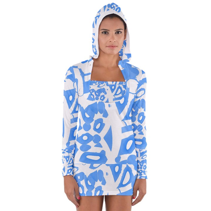 Blue summer design Women s Long Sleeve Hooded T-shirt