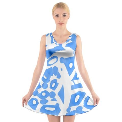 Blue summer design V-Neck Sleeveless Skater Dress