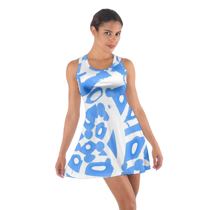 Blue summer design Cotton Racerback Dress