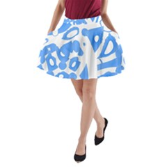 Blue Summer Design A Line Pocket Skirt