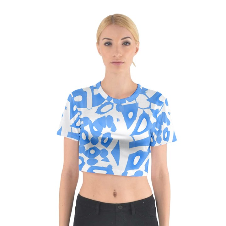 Blue summer design Cotton Crop Top