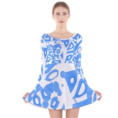 Blue Summer Design Long Sleeve Velvet Skater Dress