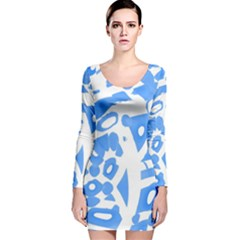 Blue summer design Long Sleeve Velvet Bodycon Dress