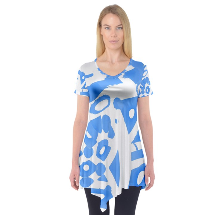Blue summer design Short Sleeve Tunic
