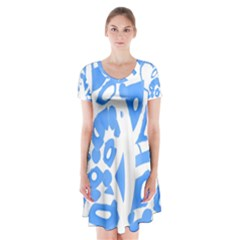 Blue summer design Short Sleeve V-neck Flare Dress