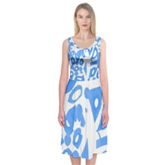 Blue summer design Midi Sleeveless Dress