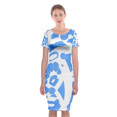 Blue Summer Design Classic Short Sleeve Midi Dress
