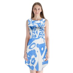 Blue summer design Sleeveless Chiffon Dress