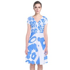 Blue summer design Short Sleeve Front Wrap Dress