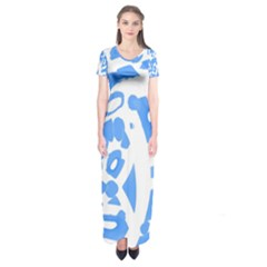 Blue Summer Design Short Sleeve Maxi Dress