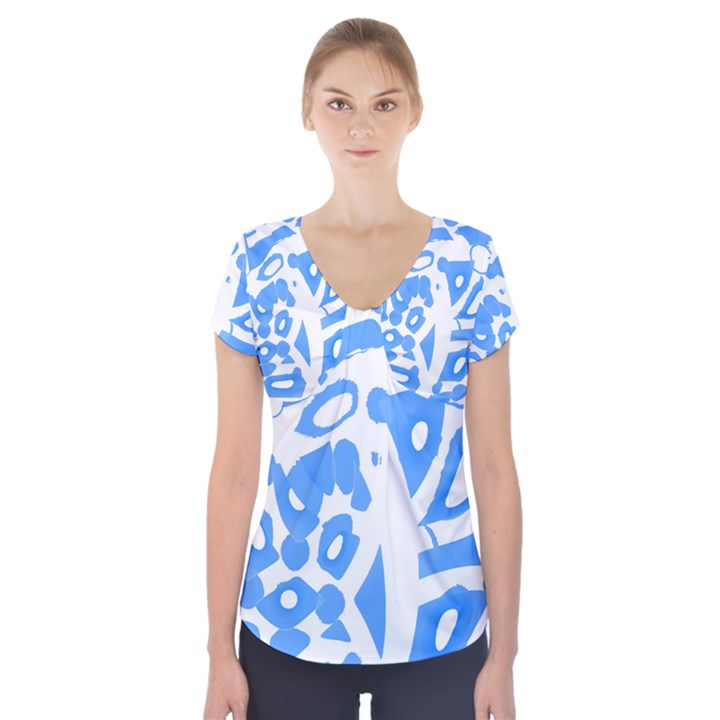 Blue summer design Short Sleeve Front Detail Top