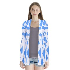 Blue Summer Design Drape Collar Cardigan