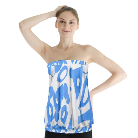 Blue summer design Strapless Top