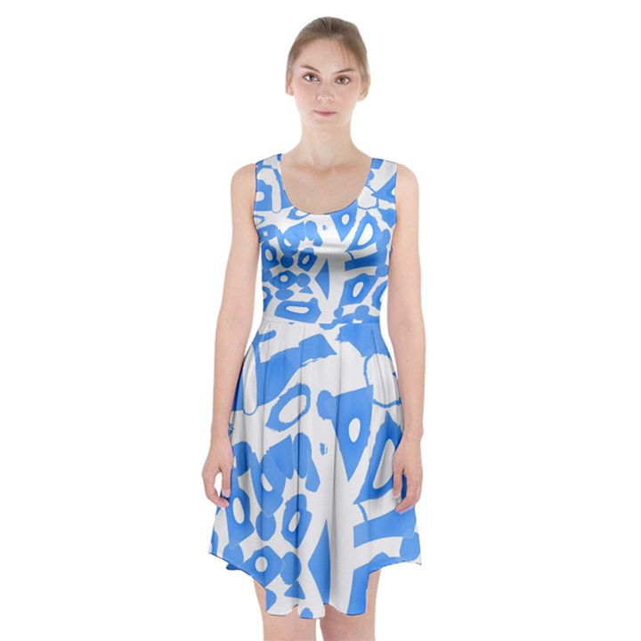 Blue summer design Racerback Midi Dress