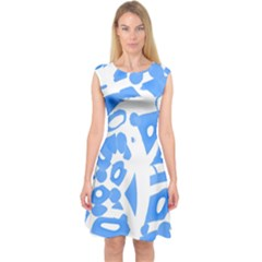 Blue Summer Design Capsleeve Midi Dress