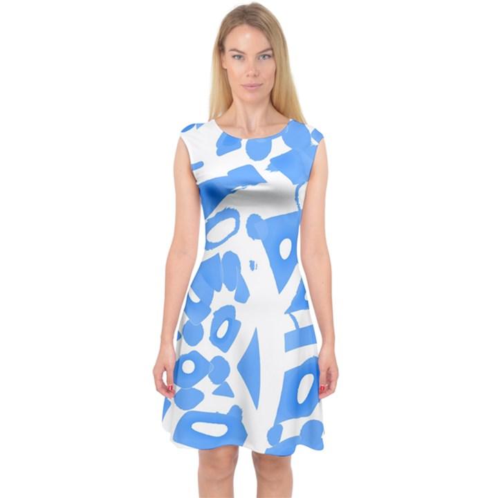 Blue summer design Capsleeve Midi Dress