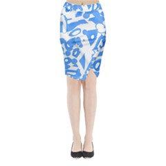 Blue summer design Midi Wrap Pencil Skirt