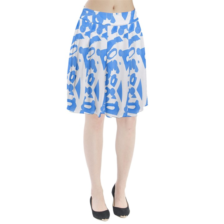 Blue summer design Pleated Skirt