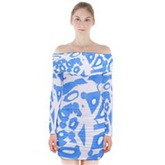Blue summer design Long Sleeve Off Shoulder Dress