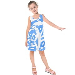 Blue summer design Kids  Sleeveless Dress