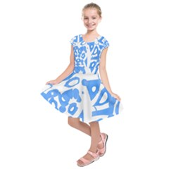 Blue summer design Kids  Short Sleeve Dress