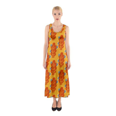 Bugs Eat Autumn Leaf Pattern Sleeveless Maxi Dress