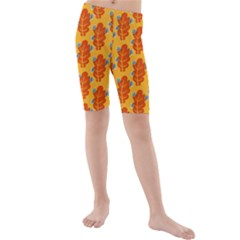Bugs Eat Autumn Leaf Pattern Kids  Mid Length Swim Shorts
