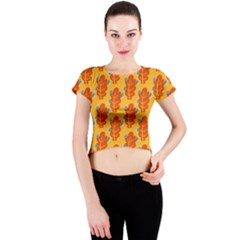 Bugs Eat Autumn Leaf Pattern Crew Neck Crop Top