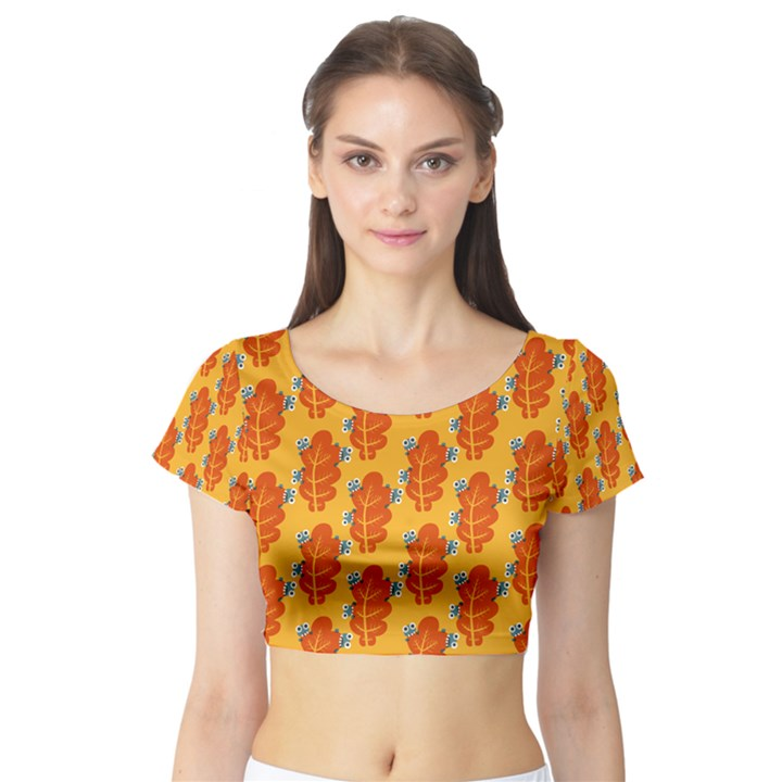 Bugs Eat Autumn Leaf Pattern Short Sleeve Crop Top (Tight Fit)
