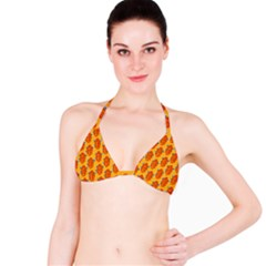 Bugs Eat Autumn Leaf Pattern Bikini Top