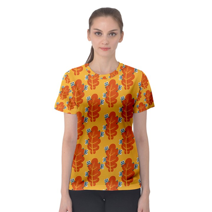 Bugs Eat Autumn Leaf Pattern Women s Sport Mesh Tee