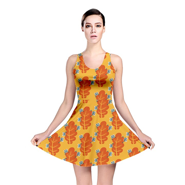 Bugs Eat Autumn Leaf Pattern Reversible Skater Dress
