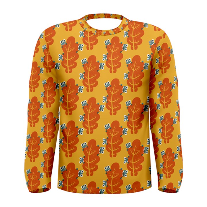 Bugs Eat Autumn Leaf Pattern Men s Long Sleeve Tee