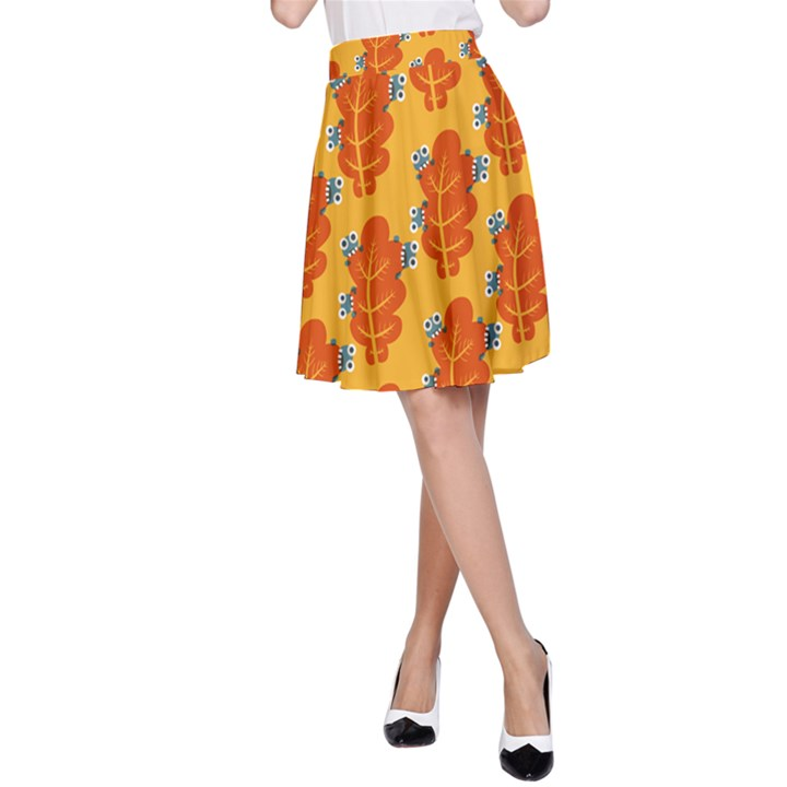Bugs Eat Autumn Leaf Pattern A-Line Skirt