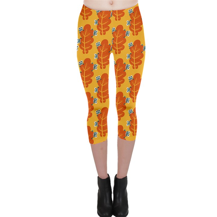 Bugs Eat Autumn Leaf Pattern Capri Leggings