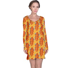 Bugs Eat Autumn Leaf Pattern Long Sleeve Nightdress
