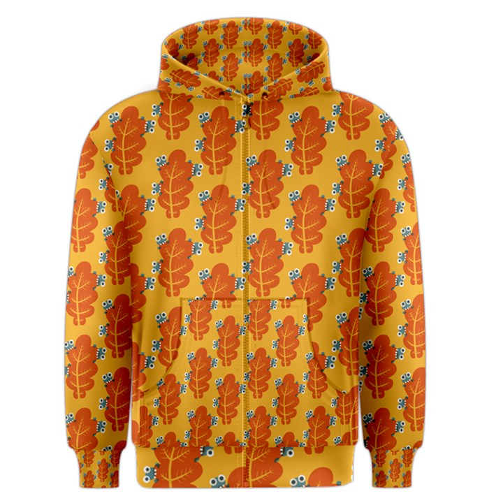 Bugs Eat Autumn Leaf Pattern Men s Zipper Hoodie