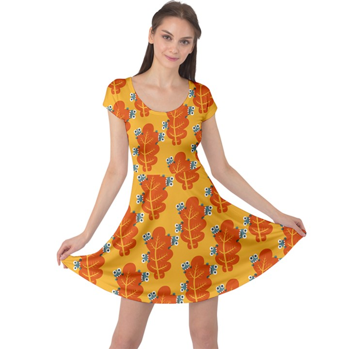 Bugs Eat Autumn Leaf Pattern Cap Sleeve Dresses
