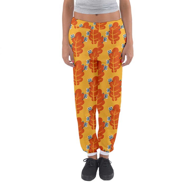 Bugs Eat Autumn Leaf Pattern Women s Jogger Sweatpants