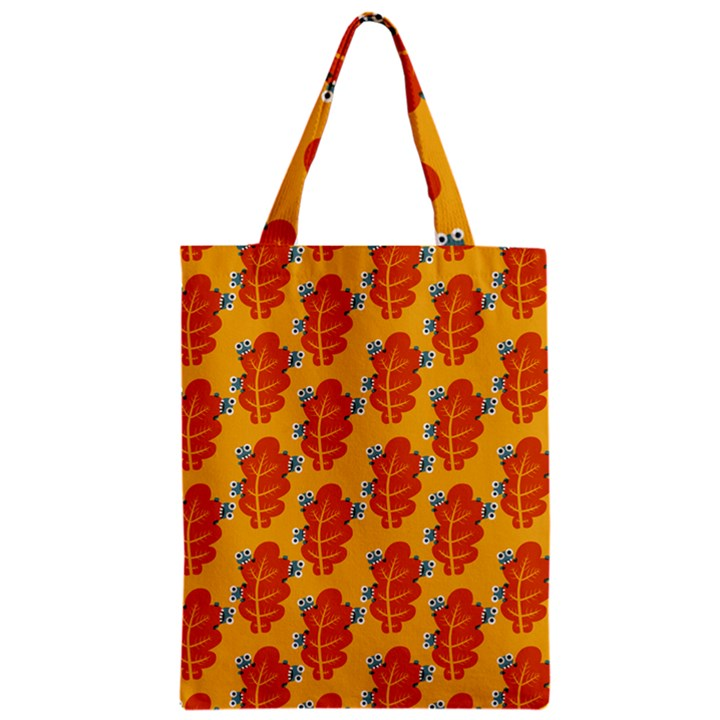 Bugs Eat Autumn Leaf Pattern Zipper Classic Tote Bag